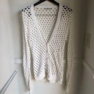 Trina Turk White Crochet Cardigan